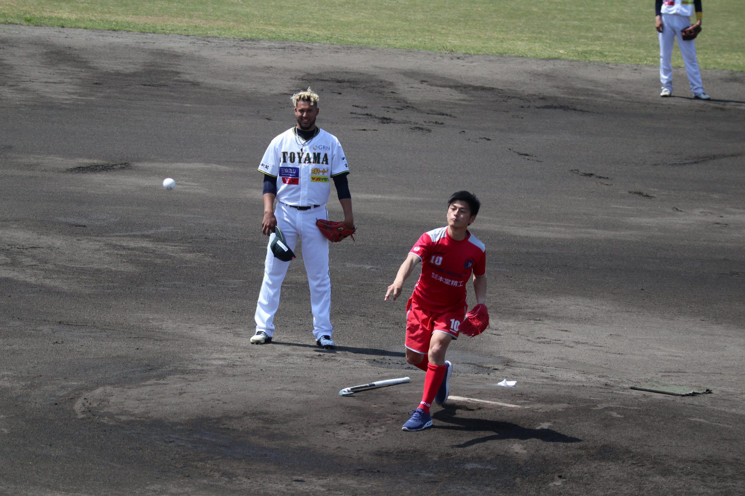 始球式 ~おやべREDOX 新井主将 ストライク!